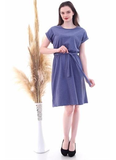 Cottonmood 9292931 Ikiiplik Beli Lastikli Yarasa Kol Elbise Indgo İndigo
